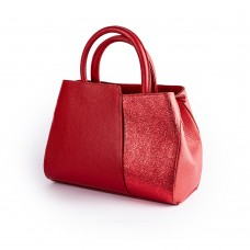 Червона сумочка з комбінації двох типів шкіри