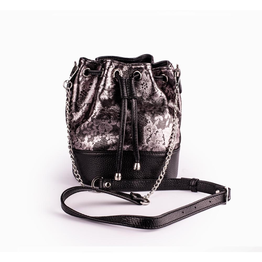 Яскрава шкіряна сумка-мішок