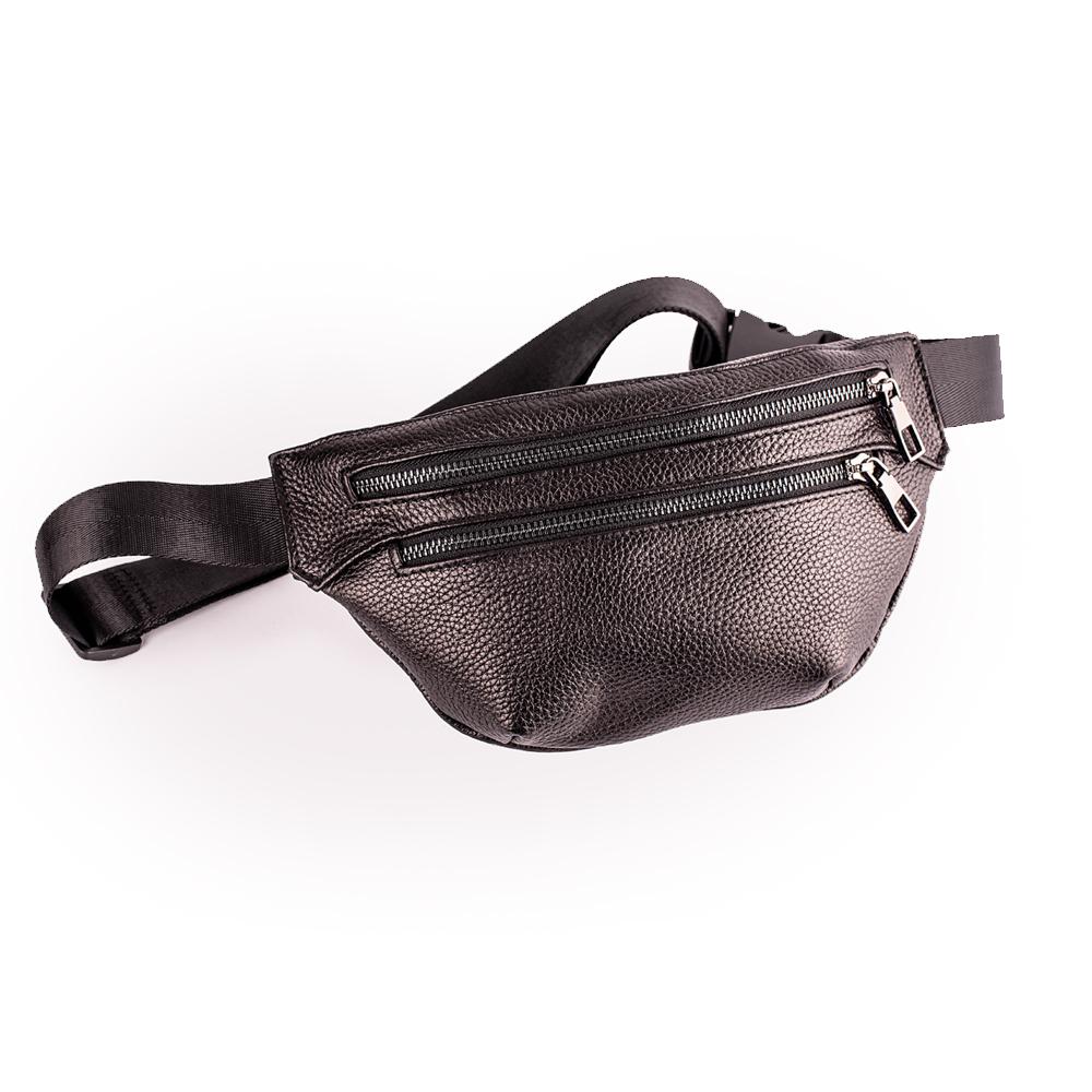 Шкіряна сумка-бананка чорна