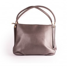 Темно-сіра шкіряна сумка прямокутна