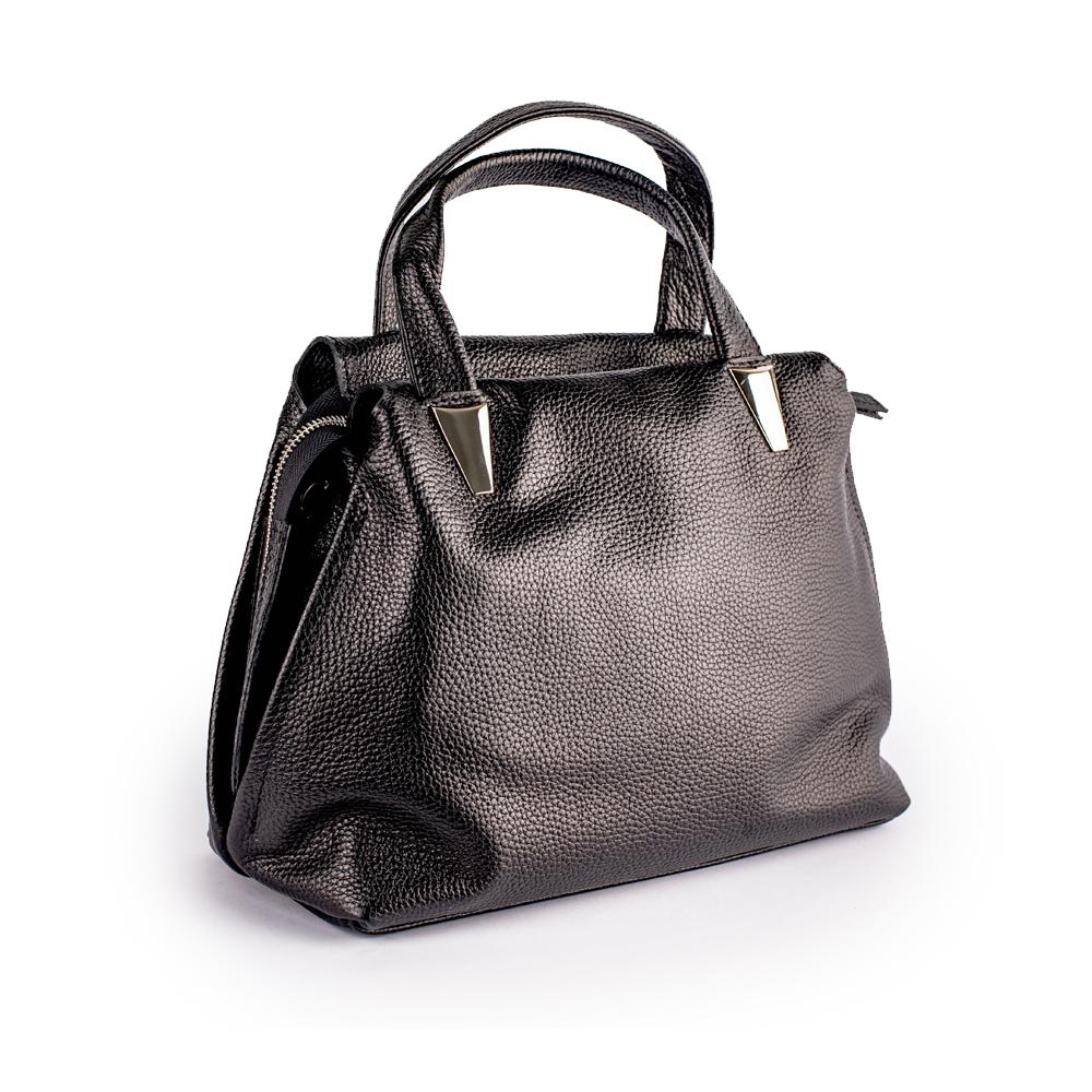 Чорна сумка зі шкіри м'якої форми