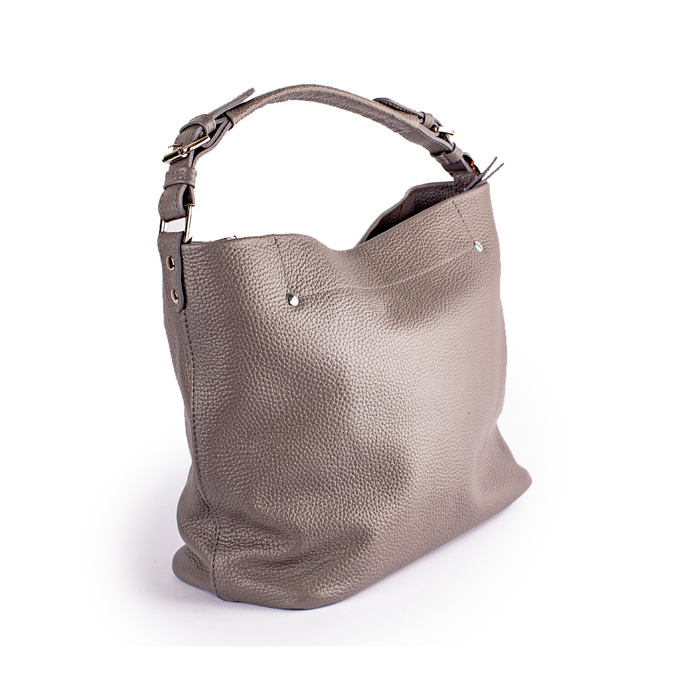 Містка сумка зі шкіри сіра