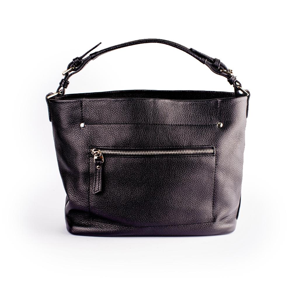 Класична прямокутна містка сумка з чорної шкіри