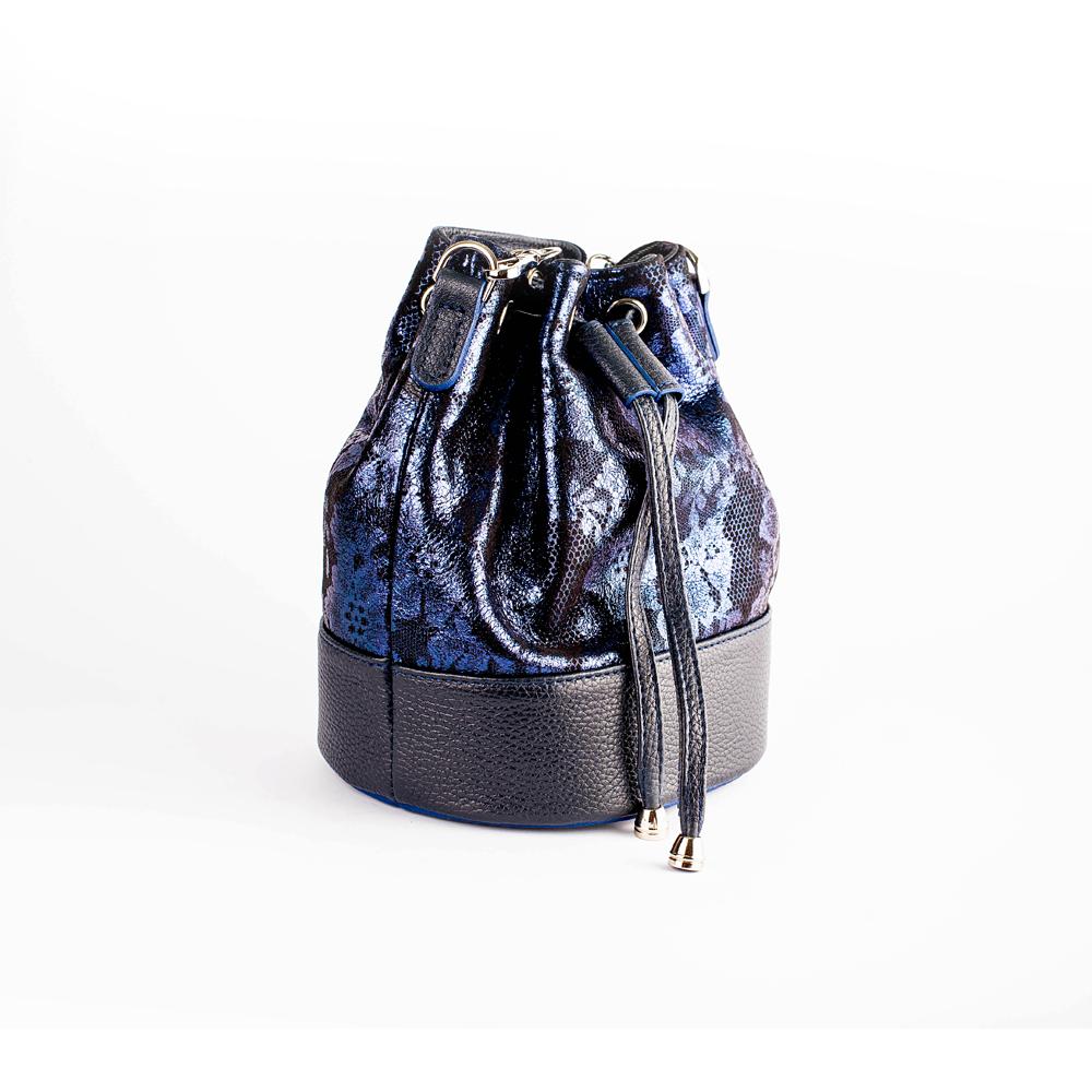 Синя шкіряна сумка-бочонок