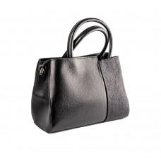 Чорна шкіряна сумка з жорстким каркасом
