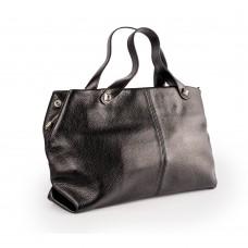 Містка сумка м'якої форми з чорної шкіри