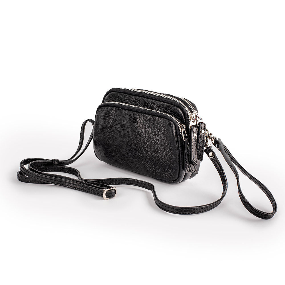 Маленька сумочка-кроссбоді з чорної шкіри