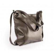 Велика шкіряна сумка темно-зеленого кольору