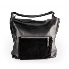 Велика шкіряна сумка з накладним карманом