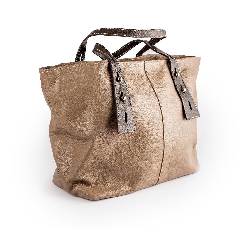 """Велика сумка з гладкої матової шкіри кольору """"мокко"""""""