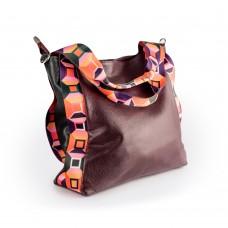 Велика шкіряна сумка з тканинними вставками