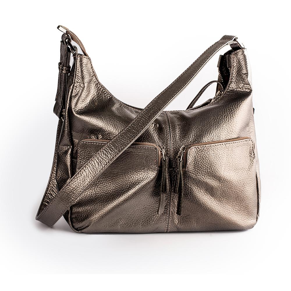 Шкіряна сумка з металевим відливом