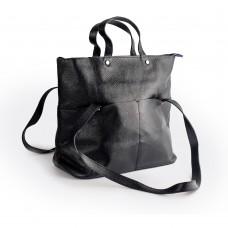 Велика шкіряна сумка темно-синього кольору