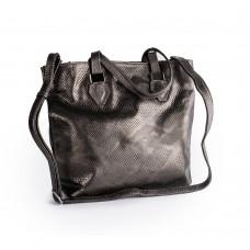 Велика шкіряна сумка сіро-коричневого кольору з імітацією шкіри змії