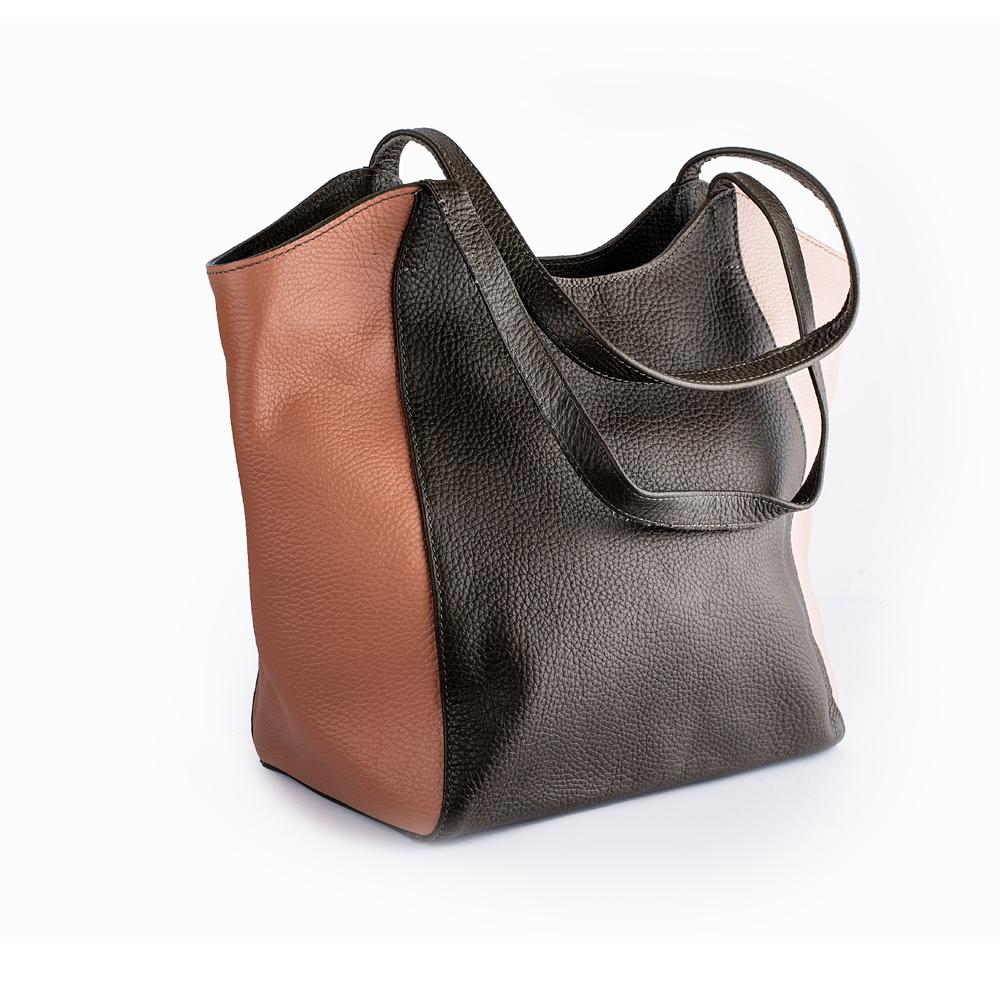 Велика шкіряна сумка триколірна