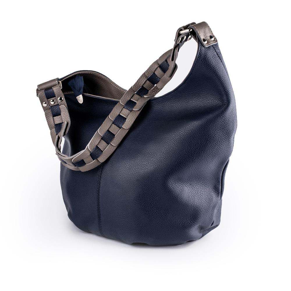 Велика шкіряна сумка синього кольору