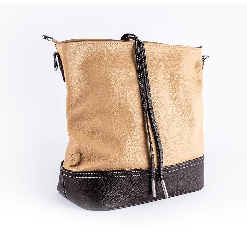 Велика шкіряна сумка бежева з коричневим